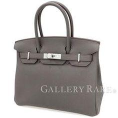 エルメス バーキン30 cm ハンドバッグ エタン×シルバー金具 トゴ T刻印 HERMES Birkin バッグ
