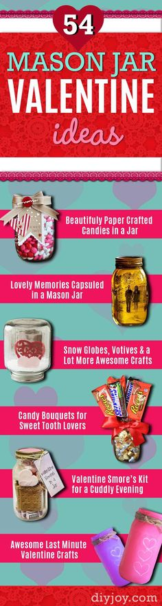 Mason Jar Valentine Gifts and Crafts | DIY Ideas for Valentines Day for Cute Gift Giving and Decor |  Cool Heart Crafts and Homemade Valentine Mason Jars  for Friends, Boyfriend, Teacher, Kids and Neighbors. Pretty Home Decor With Hearts. http://diyjoy.com/mason-jar-valentine-crafts