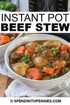 This Instant Pot beef stew recipe is so easy and so delicious. We love making this on busy weeknights! #spendwithpennies #beefstew #instantpotbeefstew #instantpot #pressurecooker #easystew