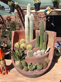 Cactus planter - Love this! Take a broken pot and add levels! This is so cool, I've thrown away so many broken pots Cacti And Succulents, Planting Succulents, Planting Flowers, Succulent Gardening, Gardening Hacks, Pot Jardin, Garden Projects, Diy Projects, Garden Pots