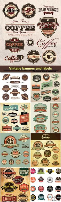 Vintage banners and labels