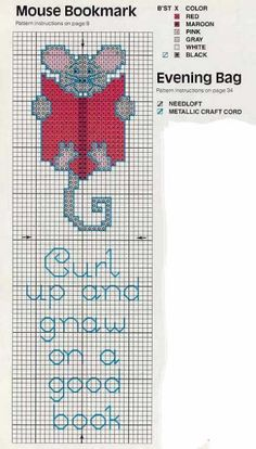 Curl Up and Gnaw on a Good Book Cross Stitch Books, Cross Stitch Bookmarks, Cross Stitch Animals, Cross Stitch Charts, Cross Stitch Designs, Cross Stitch Patterns, Cross Stitching, Cross Stitch Embroidery, Embroidery Patterns
