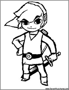 Link (from Zelda) coloring page. For my gaming room coaster project.
