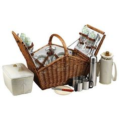Picnic At Ascot Huntsman Basket for Four with Coffee Service in Gazebo