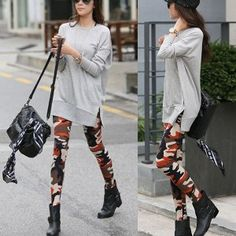 #Camouflage #leggings that come on green #woodland or orange #urban colors. great for #swag and #trill #hiphop #style outfits!