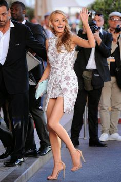 Blake Lively in a sexy mini dress at the Le Grand Journal Show at the 2014 Cannes Film Festival