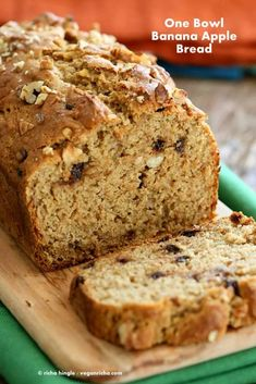 One Bowl Vegan Banana Apple Bread. This moist Banana Bread has ripe banana, shredded apple and nut butter. Add Walnuts or chocolate chips. Vegan Breakfast Recipe.
