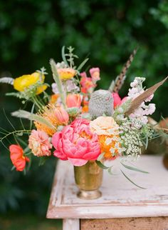 Ojai Wedding Inspiration from Bash, Please + Bryce Covey Photography Summer Wedding Decorations, Reception Decorations, Rustic Wedding Flowers, Floral Wedding, Flower Centerpieces, Wedding Centerpieces, Wedding Bouquets, Faux Flowers, Pretty Flowers