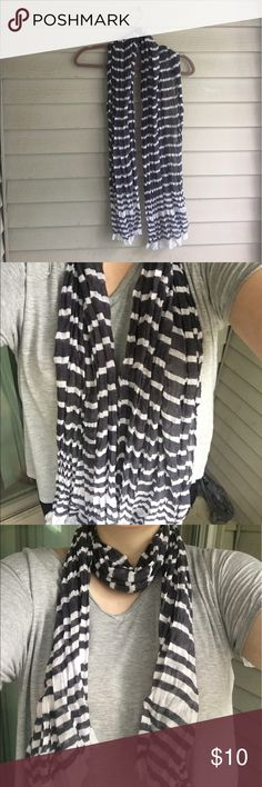 ‼️SALE‼️🐼 black and white scarf I'm selling a black and white stripped scarf. Worn once or twice. It's sheer so meant more for fashion than warmth. Very cute! Accessories Scarves & Wraps