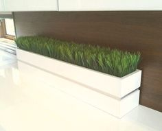 Modern White lacquer planter box with Grass by JTLCREATIONS, $295.00