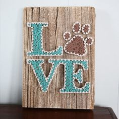 LOVE with Pawprint Driftwood String Art by CoastalCreationsNJ