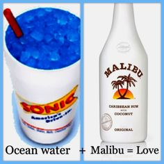 Get an Ocean Water (sprite with blue coconut) and add then add Malibu Coconut Rum on your own! Delicious!  Love sonic slushes