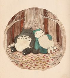 Best Friends... Totoro and Snorlax