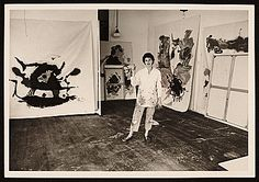 Citation: Helen Frankenthaler in her studio, 1961 / Andre Emmerich, photographer. André Emmerich Gallery records and André Emmerich papers, Archives of American Art, Smithsonian Institution.