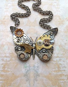 Steampunk Butterfly Necklace - Custom Design Silver Butterfly with Watch Gears Brass Flowers and Jewels