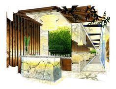 Home Decoration Design Ideas Spa Interior Design, Interior Design Renderings, Drawing Interior, Spa Design, Interior Rendering, Interior Sketch, Interior And Exterior, Design Ideas, Architecture Restaurant