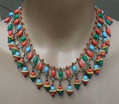 Vintage Glass Bead Egyptian Revival Bib Haskell Necklace | eBay