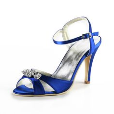 3a58439aec40a New blue satin high heels evening party shoes rhinestone elegant summer  sandals ankle strap wedding bridal