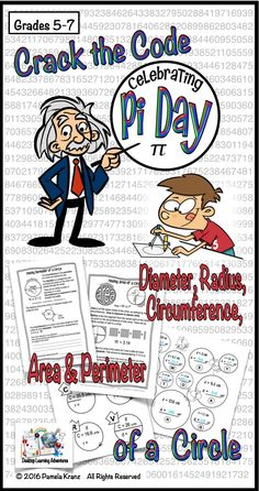 Pi Day Area & Circumference of a Circle - Crack the Code Distance Learning Perimeter Of Circle, Area Of A Circle, Math Classroom, Classroom Activities, Classroom Ideas, Future Classroom, Learning Activities, Fun Math, Math Games