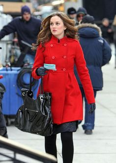 Red winter jacket, black leather gloves, black warm tights, black flats, black purse. So easy.