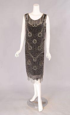 aaff3290eff7 1920 s Hand Beaded Silk Flapper Dress 1920s Dress