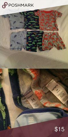 Cute Carter's, pajama sets, 24 month lot 3 Carter's, baby boy, light, pajama sleep sets. Carter's Pajamas Pajama Sets