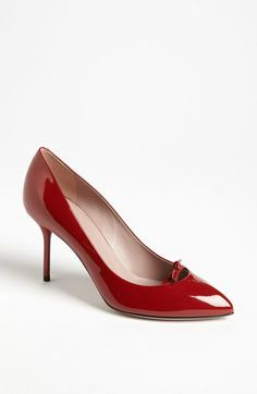 Gucci 'Beverly' Pump A diminutive twist tops the sleek silhouette of a pointy toe pump perched atop an impeccably slim heel. 3 heel (size Patent leather upper/leather lining and sole. By Gucci; Pumps Heels, High Heels, Patent Leather, Kitten Heels, Nordstrom, Gucci, Red, Emeralds, Jealousy
