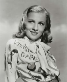 "Joan Fontaine sporting a wonderful ""Victory Garden"" blouse."