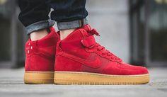 @Nike Air Force 1 High 07 LV8 The classic Nike Air Force 1 High featuring a red suede upper and gum sole.