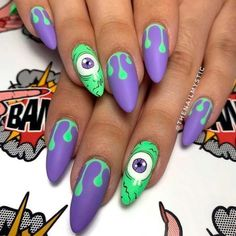 Funny Monters Eyes Looking for some easy yet cute ideas for Halloween nail art designs? Our collection includes everything you might want from scary blood nails patterns to funny ghost prints. Let your mani look its best on this Halloween night! Halloween Acrylic Nails, Halloween Nail Designs, Cute Acrylic Nails, Cute Halloween Nails, Ny Nails, Goth Nails, Coffin Nails, Hippie Nails, Coffin Acrylics
