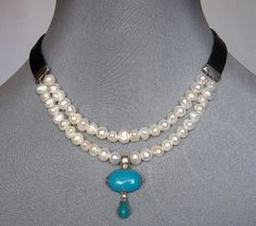 western jewerly pearl and turquoise | Romantic contemporary jewelry. Upscale pearls and turquoise necklace ...
