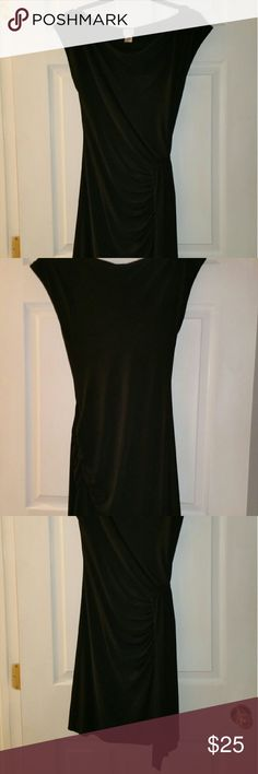 Cache Black Boatneck Dress Side rouched with front slit / cap sleeve Cache Dresses Mini