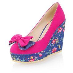 Leatherette Women's Wedge Heel Platform Pumps/Heels Shoes(More Colors)