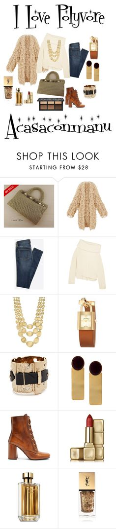 """Elegant gold coloured crochet handbag"" by bamasbabes ❤ liked on Polyvore featuring Joseph, Marco Bicego, Tory Burch, Alexis Bittar, Silhouette, Prada, Guerlain and Yves Saint Laurent"