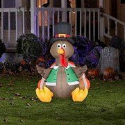 42 inches cute airblown inflatable blow up air blown lighted happy turkey gobble pilgrim thanksgiving festive yard decor display autumn fall lights outdoor decoration by knl store