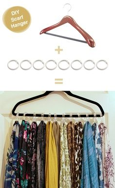 Make a simple scarf rack with things you already have or can buy cheaply. All you need is a hanger and shower curtain rings.