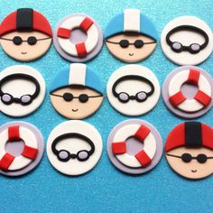 Swimmer fondant cupcake toppers