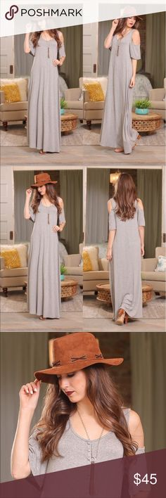 """Heather Gray Cold Shoulder Maxi Dress w/buttons A beautiful Gray maxi dress! ❤️ This dress is very long so please measure. My height is 5""""3 and it is way too long for me, Depending on if you are wearing flats or a very tall shoe. Just measure measure 😀   Size 1 Small, 1 Medium, 1 Large  Bust - S-19"""" M-20"""" L-21""""  Length: S-56"""", M-57"""", L-58""""  Material: 70% Cotton and 30% Rayon Infinity Raine Dresses Maxi"""