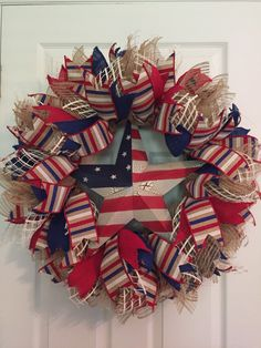 Patriotic Wreath, Fourth  of July Wreath, USA Wreath, Burlap Wreath,  Memorial Day Wreath, Wreath, Americana Wreath, Deco Mesh,  by RoesWreaths on Etsy https://www.etsy.com/listing/232366333/patriotic-wreath-fourth-of-july-wreath