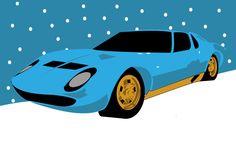 Lamborghini Miura Blue Christmas Card by PurplePetrolPump