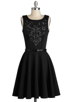 Grape Kelly Dress in Black by Closet - Black, Solid, Embroidery, Belted, Party, A-line, Sleeveless, Better, Scoop, Knit, Mid-length, Pockets, Variation