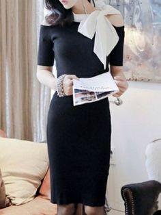 Bowknot Short Sleeve Oversize Mid Dress Slim Knee-Length Dress Casual Dress on buytrends.com
