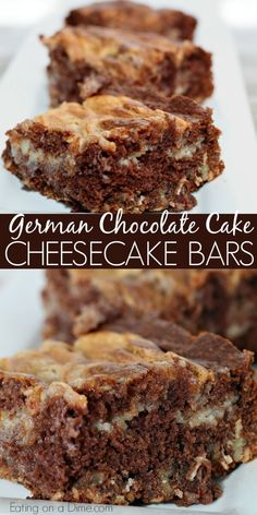 You will love this easy German Chocolate Cake Cheesecake Bars Recipe! Cheesecake and German chocolate make a tasty dessert. Try this easy dessert. You will love this easy German Chocolate Cake Cheesecake Bars Easy German Chocolate Cake, Chocolate Cake Mixes, Chocolate Treats, Homemade Chocolate, German Cake, Chocolate Chocolate, German Desserts, Easy Desserts, Dessert Recipes