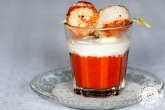 Cappuccino van tomaten en sint-jakobsnoten