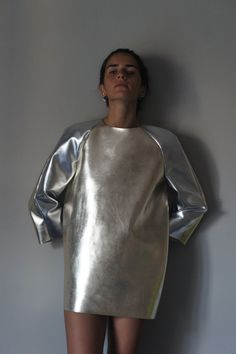 silver metal top dress hi shine shiny