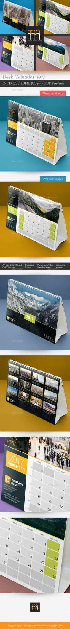 Desk Calendar  Template Indesign Indd  Calendar Templates