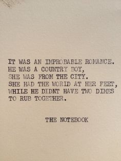 """""""The Notebook"""" Typewriter quote on 5 x 7 cardstock from Etsy"""