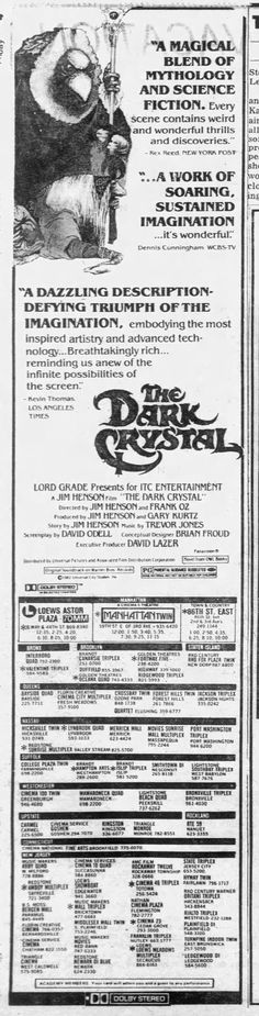 dark crystal 70mm - Newspapers.com Brian Froud, New York Daily News, The Dark Crystal, Weird And Wonderful, Science Fiction, The Darkest, Scene, Crystals, Sci Fi