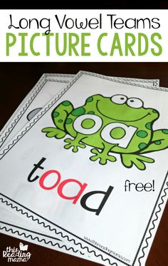 Teach Your Child to Read - Long Vowel Teams Phonics Picture Cards FREE - This Reading Mama - Give Your Child a Head Start, and.Pave the Way for a Bright, Successful Future. Jolly Phonics, Teaching Phonics, Phonics Activities, Reading Activities, Educational Activities, Phonics Videos, Team Activities, Teaching Skills, Reading Resources