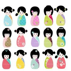 doll clip art | ClIP ART - Kawaii Kokeshi Doll Set of 15 for commercial and personal ...